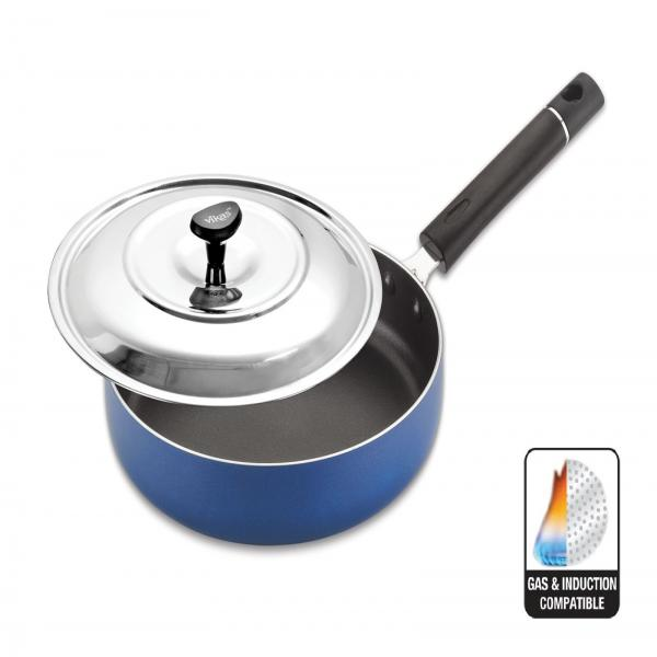 INDUCTION BASED FRY PAN WITH S.S LID - AVAILABLE SIZES - 220 MM, 240 MM
